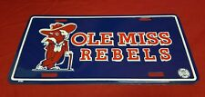 Ole Miss Rebels Colonel Reb License Plate Blue Brand New Fast Free Shipping