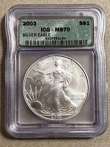 2003 Silver Eagle ICG MS 70 (Slight Toning)