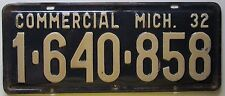 Michigan 1932 COMMERCIAL VEHICLE License Plate NICE QUALITY # 1-640-858