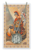 St. Florian Necklace for Firefighters with Medal and Laminated Prayer Card