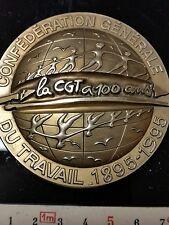 """BIG MEDAILLE DE BRONZE POUR  LES 100 ANS DE LA  CGT SIGNEE """"GENDIS""""1895_-1995"""
