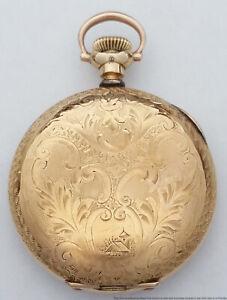 Antique Hampden Diadem Ladies Hunter 15J Lever Set Running Pocket Watch
