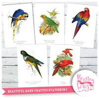 Vintage Art Prints Exotic Birds - Parrots, Lori - A4 Wall Art Set of 5
