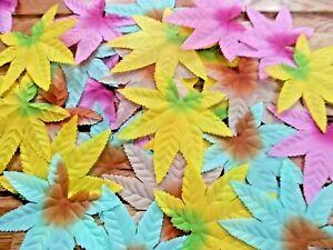 200! QUALITY MIXED SILK ACER/MAPLE autumn LEAF WEDDING/CRAFTS DECOR/COSTUME