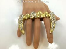 Jumbo Crystal Vampire Teeth Fangs Knuckle Ring - 3 Colors