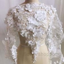 1 Yard 3D Chiffon Flowers Embroidery Beads Lace Trim Wedding Dress Lace Fabric