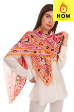 RRP €900 EMILIO PUCCI Cashmere & Silk Square Scarf Frayed Edges Made in Italy