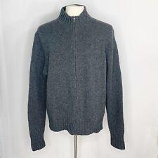 Polo Ralph Lauren Men's Full Zip Gray Sweater Jacket Coat 100% Lambs Wool Sz XL