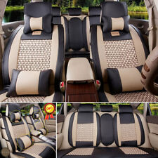 L Size Mesh&PU Leather Seat Cover 5-Seats Car SUV Fit Front+Rear Cushion +Pillow