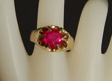 ANTIQUE SYNTHETIC RUBY 14KT YELLOW GOLD MENS BELCHER RING