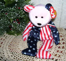 Ty Beanie Baby Spangle Pink Face 1999 Patriotic Bear