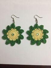 Crochet Flower Earrings With Crystal Swarovski gem 100% Cotton Thread
