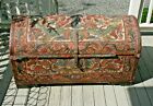 Antique / Vintage Hand Tooled Leather Trunk Peru Spanish colonial Style European