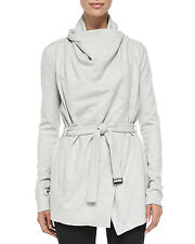 HELMUT LANG Sonar Drape Collar Wool Belted Cardigan / Jacket / Trench L