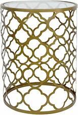 Palais Furnishings 'Feuilles' Metal Barrel End Table (Quatrofoil Brass)