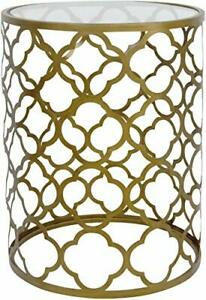 Palais Furnishings 'Feuilles' Metal Barrel End Table (Quatrofoil Brass)