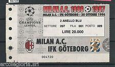 59708   - Vecchio  BIGLIETTO PARTITA CALCIO - 1996 / 1997 : MILAN / IFK GOTEBORG