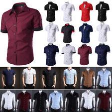 Mens Buttons Casual Shirt Short Sleeve Slim Fit Formal Dress Shirt T-Shirt Tops