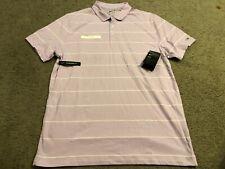 NIKE driFIT Purple White Logo Striped s/s Casual Golf Polo Shirt mens L new NWT