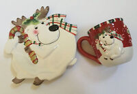 New In Box FITZ & Floyd Gift Gallery Holiday REINDEER Mug and Plate Set