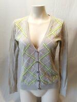 Tommy Hilfiger Beige Diamond Pattern Women's Long Sleeve Cardigan Sweater Size M