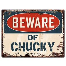 PP1516 Beware of CHUCKY Plate Rustic Chic Sign Home Room Store Decor Gift