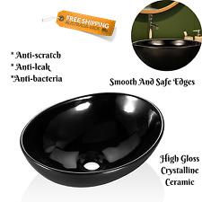 Bathroom Ceramic Sink Round Basin High Gloss Black Laundry Water Tub Easy Instal