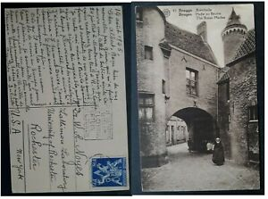 1946 Belgium Postcard-The Butter Market ties 1.75Fr stamp to Rochester