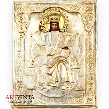 Ikone Christus Pantokrator Oklad 19. Jahrhundert Icon Christ Pantocrator