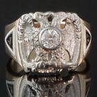 Massive Solid 14K Gold, Enamel, Diamond Masonic Double Eagle 32nd Degree Ring  for sale