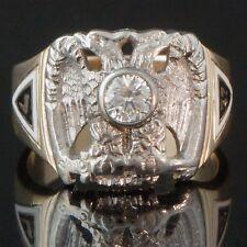 Massive Solid 14K Gold, Enamel, Diamond Masonic Double Eagle 32nd Degree Ring