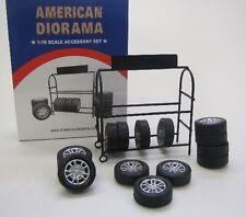 Figuren Zubehör ( Metall Reifen Ständer mit 14 Reifen ) 1:18 American Diorama
