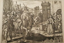 GRAVURE SUR CUIVRE FILLE DE IEPHTE-BIBLE 1670 LEMAISTRE DE SACY  (B66)