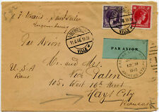 LUXEMBOURG 1946 AIRMAIL LABEL TIED KANSAS CITY PMK 10F + 50c FRANKING