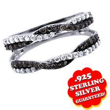 Diamond Enhancer Guard Engagement Ring 14K White Gold Over Sterling Silver
