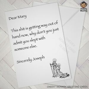 Funny CHRISTMAS CARD offensive rude Naughty WARNING letter Mary XMAS alternative