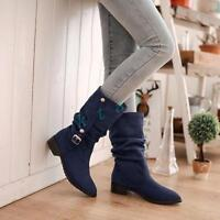 Gothic Womens Knight Boots Plus Size Suede Mid-Calf Belt-Buckle Round Toe Shoes