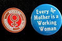 2 - WOMEN. WORKERS, WARRIORS, POETS  - BUTTONS- 1970'S ORIGINAL PINBACKS SCARCE