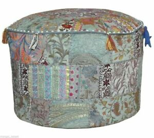 Khambadia Indian Pouf Cover Embroidery Round Ottoman Cover Patchwork Home Decor