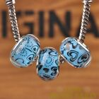 New 10pcs 14mm European Bracelet Resin Heart Pattern Big Hole Beads Lake Blue