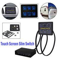 12V/24V 6 Gang LED Touch Screen Panel Slim Switch Control Car Boat Truck Marine