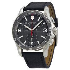 Victorinox Chrono Classic Black Leather Mens Watch 241657-AU