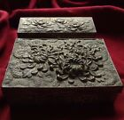 Antique 2 Pcs China Silver Bronze Tobacco Cigarette Snuff Box Jewelry Set Flower