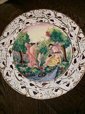 "vintage capodimonte porcelain Wall Decor, Platter, Plate 14"" Prehung, Gilded"