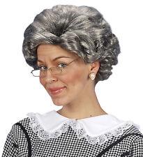 Vecchia Parrucca DELLA NONNA Gangster Agatha Grigio Donna Costume Accessorio