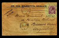 BRITISH SOUTH AFRICA to ARGENTINA censored cover 1915 - Very Rare Destination
