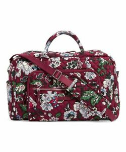 Vera Bradley Quilted Iconic Compact Weekender Travel Bag Bordeaux Blooms