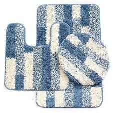 3 Piece Elite Bath Rug Set Brick Design with Dual colors (Blue)