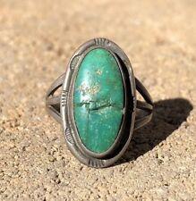 Vintage Navajo Harvey Era Sterling Silver Green Royston CERRILLOS Turquoise Ring