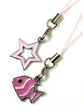 #5425 - PINK FISH & STAR TABLET CELL PHONE DUST PLUG, SHOES OR PURSE CHARMS